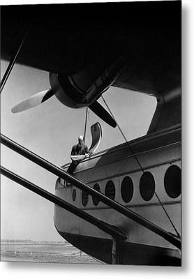 Igor Sikorsky On An Airplane Metal Print by Lusha Nelson