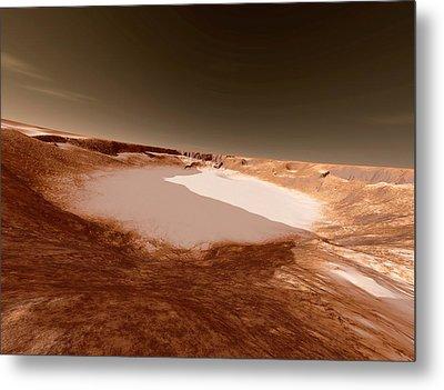 Impact Crater On Mars Metal Print by Detlev Van Ravenswaay
