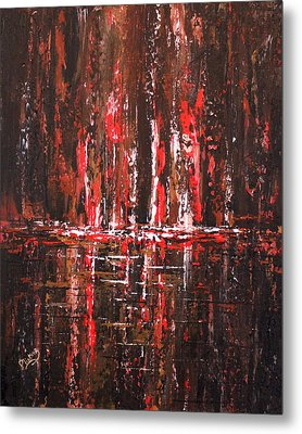 Metal Print featuring the painting In The Heat Of The Night by Patricia Lintner