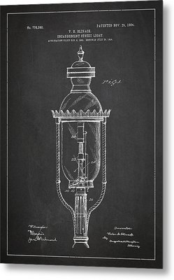 Incandescent Street Light Patent Drawing From 1904 Metal Print