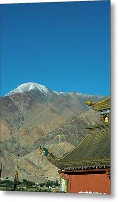 India, Ladakh, Leh, Shanti Stupa Metal Print by Anthony Asael