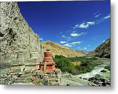 India, Ladakh, Markha Valley, White Metal Print by Anthony Asael