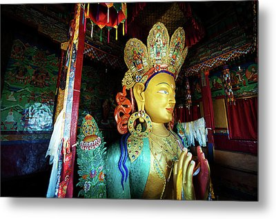 India, Ladakh, Thiksey, Golden Maitreya Metal Print by Anthony Asael