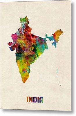 India Watercolor Map Metal Print by Michael Tompsett