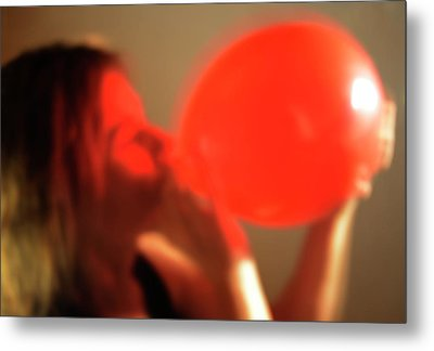 Inhaling Nitrous Oxide From A Balloon Metal Print