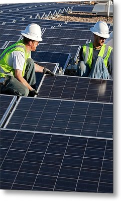Installing Solar Panels Metal Print by Jim West