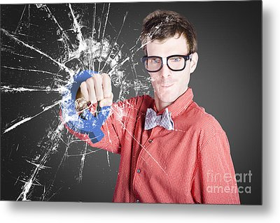 Intelligent Young Man With Good Idea Metal Print by Jorgo Photography - Wall Art Gallery