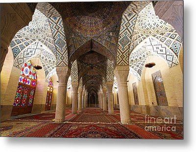 Interior Of The Winter Prayer Hall Of The Nazir Ul Mulk Mosque In Shiraz Iran Metal Print
