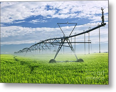 Irrigation Equipment On Farm Field Metal Print