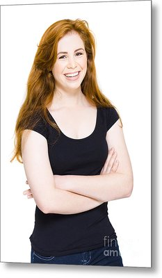 Isolated Happy Young Woman Smiling On White Metal Print by Jorgo Photography - Wall Art Gallery