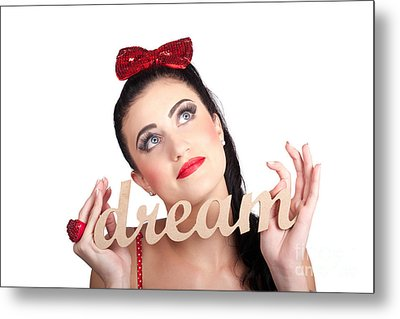 Isolated Pin Up Woman With A Dream In Grasp Metal Print