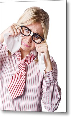 Isolated Sad Business Woman Crying Into Tissue Metal Print by Jorgo Photography - Wall Art Gallery