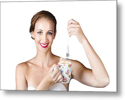 Isolated Woman With Cup Of Tea Metal Print by Jorgo Photography - Wall Art Gallery