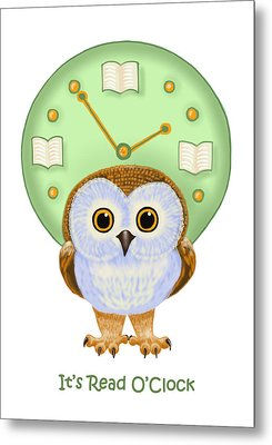 Metal Print featuring the painting It's Read O'clock by Leena Pekkalainen
