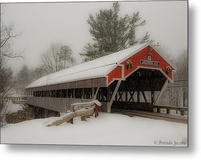 Jackson Nh Covered Bridge Metal Print by Brenda Jacobs