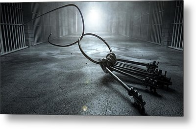 Jail Break Keys And Prison Cell Metal Print by Allan Swart