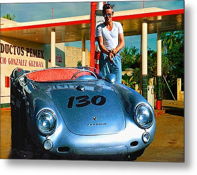 James Dean Filling His Spyder With Gas Metal Print