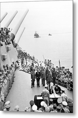 Japanese Surrender Ceremony Metal Print by Underwood Archives