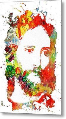 Jesus Christ - Watercolor Metal Print