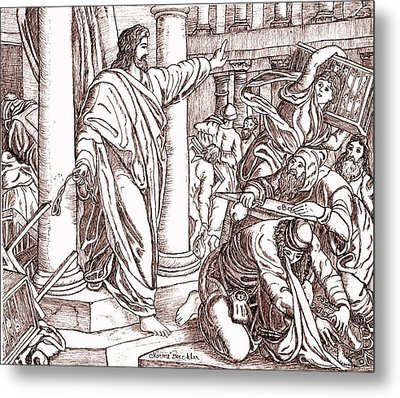 Jesus Cleansing The Temple Metal Print by Norma Boeckler