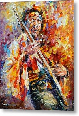 Jimi Hendrix Metal Print by Leonid Afremov