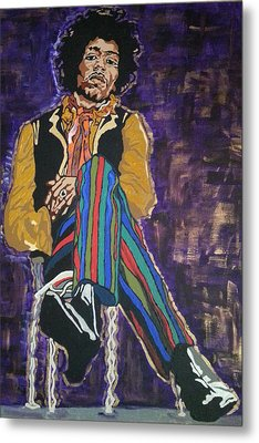 Metal Print featuring the painting Jimi Hendrix by Rachel Natalie Rawlins