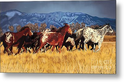 Metal Print featuring the painting Joe's Horses by Tim Gilliland