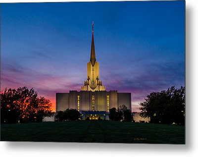 Jordan River Temple Sunset Metal Print by La Rae  Roberts