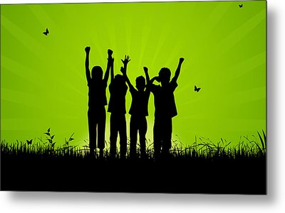 Jumping Kids Metal Print