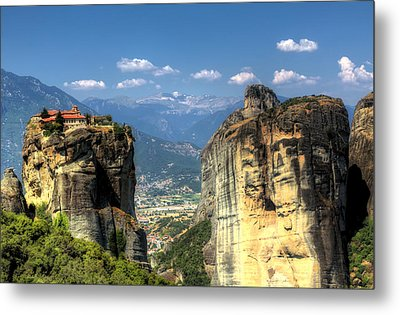 Kalambaka Beneath The Meteora Of Greece Metal Print