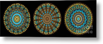 Kaleidoscope Steampunk Series Triptych Metal Print by Amy Cicconi