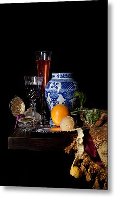 Kalf - Still Life With A Chinese Porcelain Jar  Metal Print by Levin Rodriguez