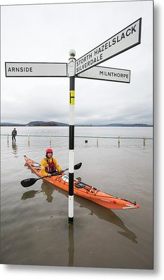 Kayakers In The Flood Waters Metal Print