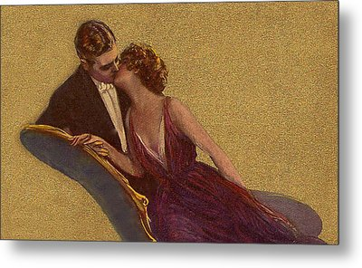 Kissing On The Chaise-longue Valentine Metal Print