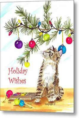 Kitten's First Christmas Metal Print by Terry Taylor
