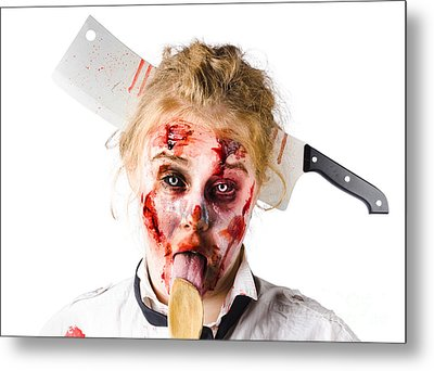 Knifed Woman Licking Spoon Metal Print by Jorgo Photography - Wall Art Gallery