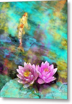 Koi Morning Mist Metal Print