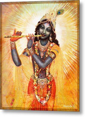 Krishna With The Flute Metal Print