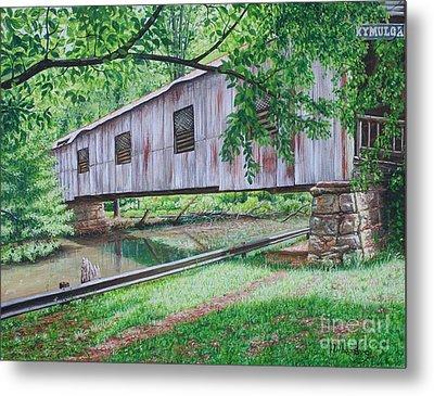 Kymulga Covered Bridge Metal Print by Mike Ivey