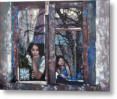 Metal Print featuring the painting lady Winter by Anastasija Kraineva