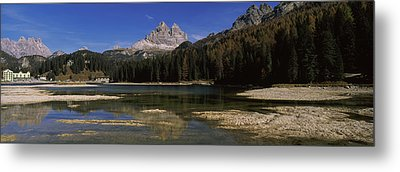 Lake With A Mountain Range Metal Print by Panoramic Images