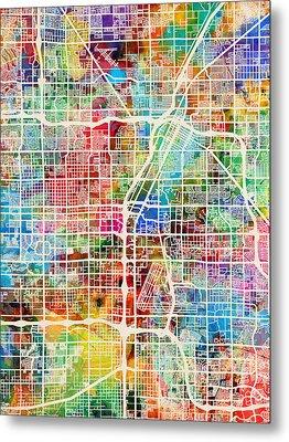 Las Vegas City Street Map Metal Print by Michael Tompsett