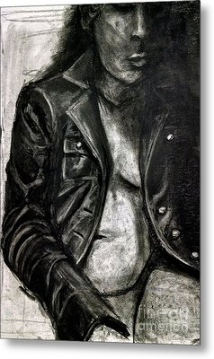 Metal Print featuring the drawing Leather Jacket by Gabrielle Wilson-Sealy