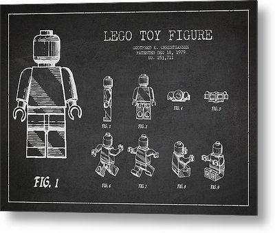 Lego Toy Figure Patent Drawing Metal Print by Aged Pixel