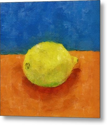 Lemon With Blue And Orange Metal Print by Michelle Calkins