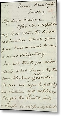 Letter Of Charles Darwin Metal Print by British Library