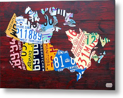 License Plate Map Of Canada Metal Print by Design Turnpike
