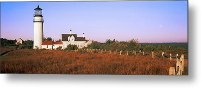 Lighthouse In The Field, Highland Metal Print