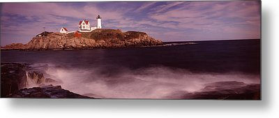 Lighthouse On The Coast, Nubble Metal Print by Panoramic Images