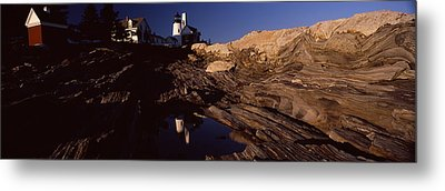Lighthouse On The Coast, Pemaquid Point Metal Print by Panoramic Images